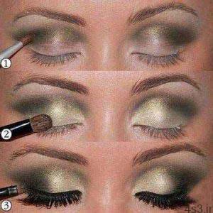 آموزش تصویری و گام به گام آرایش چشم طلایی سایت 4s3.ir