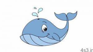 آموزش نقاشی نهنگ برای کودکان سایت 4s3.ir