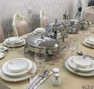 نمونه هایی تزیین میز نهاری خوری جهیزیه عروس سایت 4s3.ir