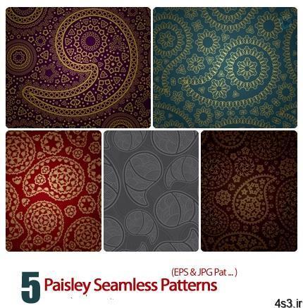 پترن بته جقه Paisley Seamless Patterns - دانلود پترن بته جقه - Paisley Seamless Patterns