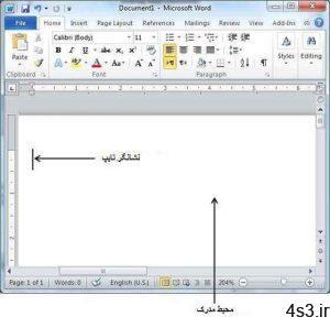 ترفندهای کامپیوتری : چگونگی آغاز تایپ در مایکروسافت ورد (Microsoft Word) سایت 4s3.ir